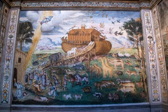 Italy, 28/03/2019: Hall of the nuns in San Maurizio al Monastero Maggiore, a 1518 church known as the Sistine Chapel of Milan, the Aurelio Luini fresco Storie dell'arca di Noè (Stories of Noah's Ark)