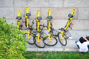 yellow bicycles from above