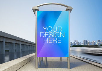 Lit Display on Freeway Bus Cover Mockup