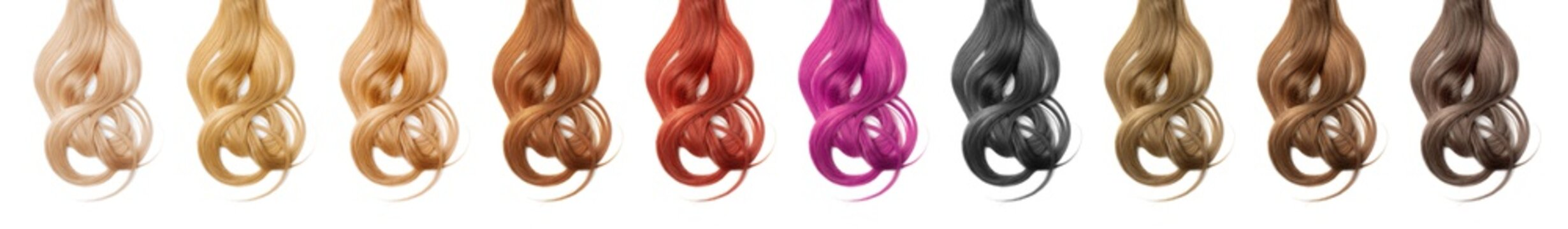 Collection various colors of wavy hair on white background