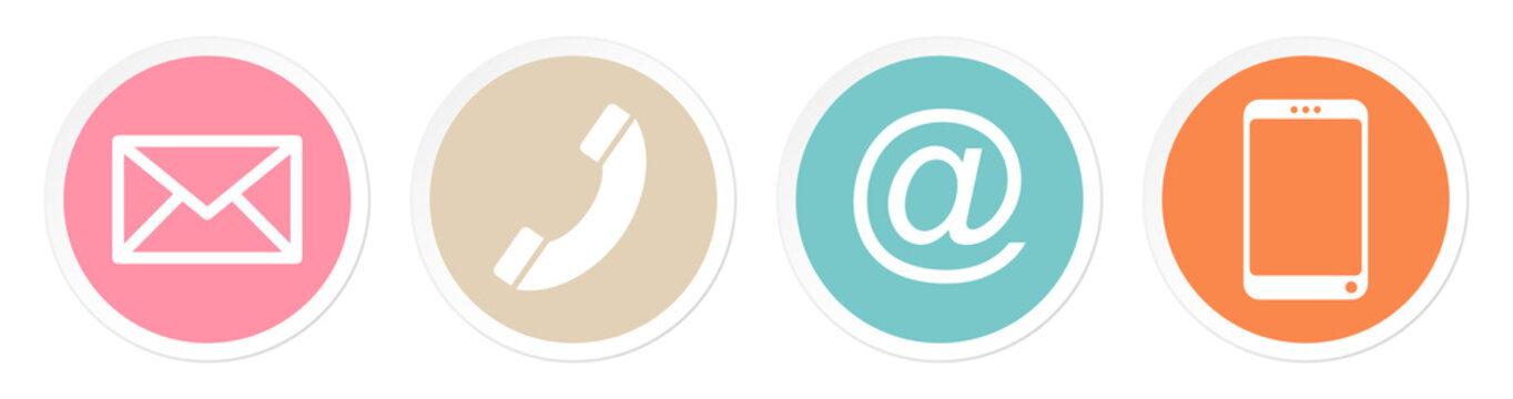 Buttons Kontakt Retrofarben