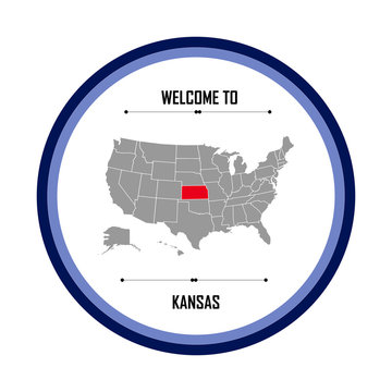 Kansas, Map of united states of america with landmark of Kansas, American map