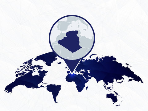 Algeria detailed map highlighted on blue rounded World Map.