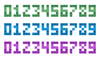 Wall Murals Pixel Set Collection of numbers 0, 1, 2, 3, 4, 5, 6, 7, 8, 9 isolated on white. Mosaic font numerals for poster, banner, logo design, print.