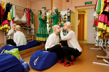 Triplet sisters participate in an examination performance at Krasnoyarsk choreographic college