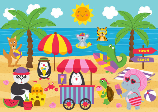 animals relax on the beach  - vector illustration, eps