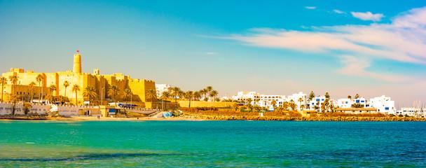 Monastir in Tunisia is an ancient city and popular tourist destination on the Mediterranean Sea.