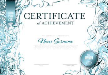 Modern Certificate with Blue Ribbons Layout