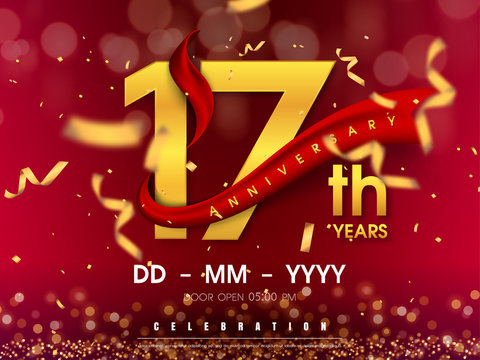 17 years anniversary logo template on gold background. 17th celebrating golden numbers with red ribbon vector and confetti isolated design elements