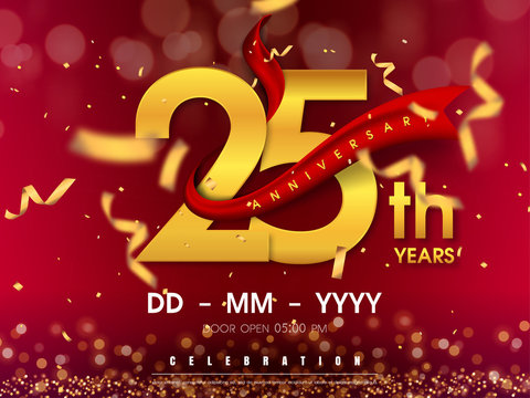 25 years anniversary logo template on gold background. 25th celebrating golden numbers with red ribbon vector and confetti isolated design elements