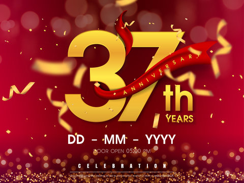 37 years anniversary logo template on gold background. 37th