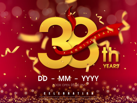 38 years anniversary logo template on gold background. 38th