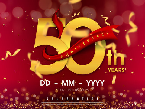 50 years anniversary logo template on gold background. 50th celebrating golden numbers with red ribbon vector and confetti isolated design elements