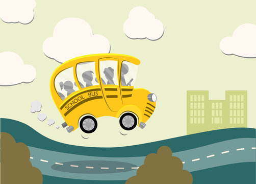 Yellow cartoon school bus with children riding back to school copy space