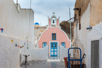 Pink, white and blue orthodox church