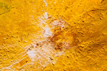 Modern artwork. Abstract texture background. Aerial view desert design. Yellow and white paint splotch.