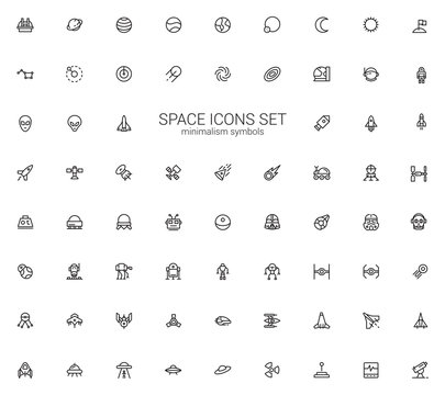 Space icon set. Star stations, Robots and spaceships symbols. Minimalism design.
