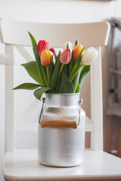 Beautiful Detail on the Bouquet of Tulips