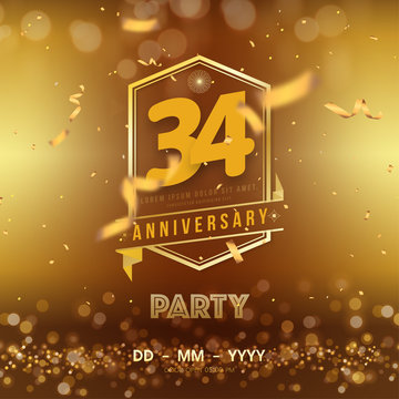 34 years anniversary logo template on gold background. 34th celebrating golden numbers with red ribbon vector and confetti isolated design elements