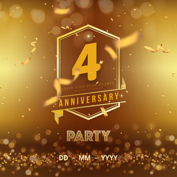 4 years anniversary logo template on gold background. 4th celebrating golden numbers with red ribbon vector and confetti isolated design elements