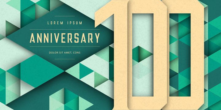 Anniversary emblems celebration logo, 100th birthday vector illustration, with texture background, modern geometric style and polygonal design. 100 Anniversary template design, geometric design