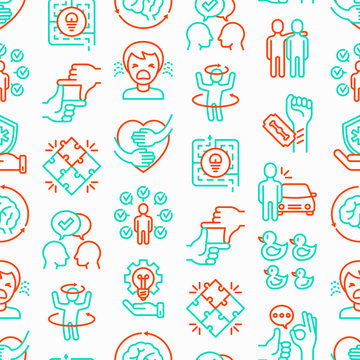 Autism symptoms seamless pattern with thin line icons: repetitive behavior, stereotypy, ignoring of danger, autoaggression, hysterics, communication, social interaction. Modern vector illustration.