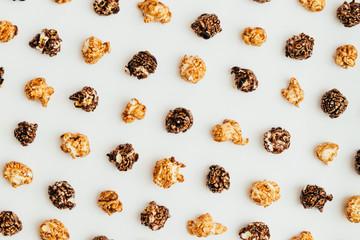Popcorn kernels on white background