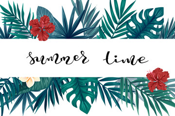 Tropical leaves banner card, vector