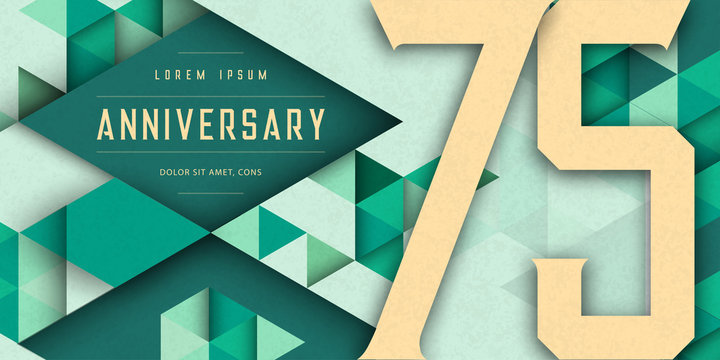Anniversary emblems celebration logo, 75th birthday vector illustration, with texture background, modern geometric style and colorful polygonal design. 75 Anniversary template design, geometric design
