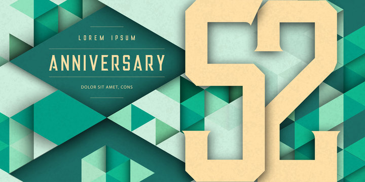 Anniversary emblems celebration logo, 52nd birthday vector illustration, with texture background, modern geometric style and colorful polygonal design. 52 Anniversary template design, geometric design