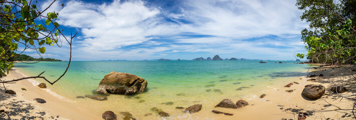 View to the Phang-Nga Bay from the Tub Kaek Beach in Krabi, Thailand. Panoramic image.