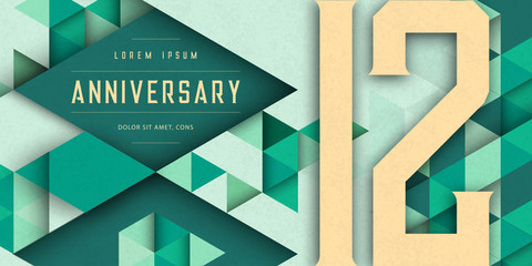 Anniversary emblems celebration logo, 12th birthday vector illustration, with texture background, modern geometric style and colorful polygonal design. 12 Anniversary template design, geometric design