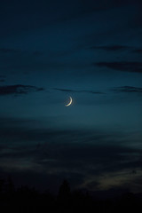 Crescent moon on a clear night