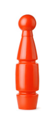 red plastic toy bowling skittle