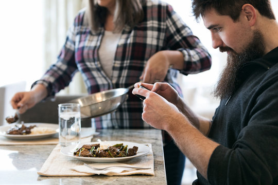 Meal: Man Takes Photo Of Prepared Meal Kit Dinner