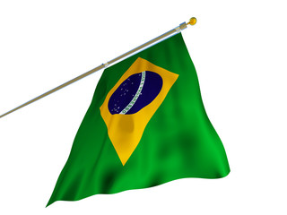 Brazil flag Isolated Silk waving flag with emblem rhombus circle Order and Progress of Federative Republic of Brazil with flagpole on white background 3D illustration.