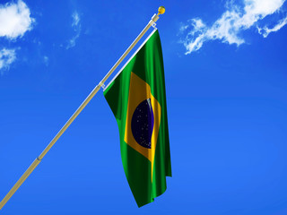 Brazil flag Silk waving flag with emblem yellow rhombus blue circle Order and Progress of Federative Republic of Brazil with a flagpole on a sunny blue sky background with white clouds 3D illustration