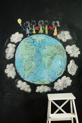 Children's drawing with a note of Peace and unity in the world
