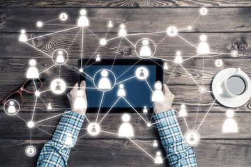 Concept of social communication and networking with social connection lines