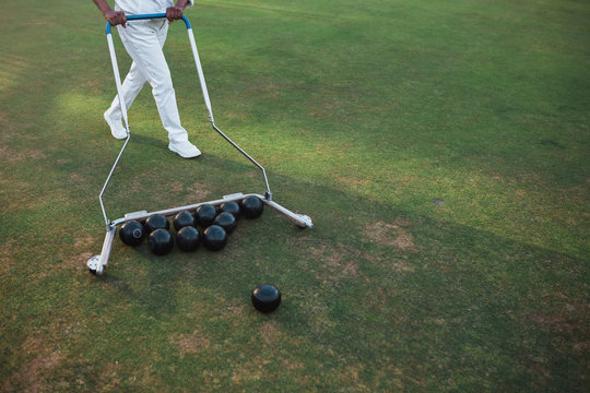 Lawn bowling balls and grass