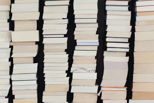 Closeup of stacks of books