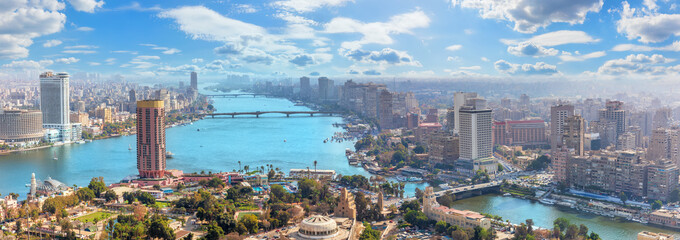 Foto op Plexiglas Grijs Beautiful panoramic view of Cairo city, Egypt