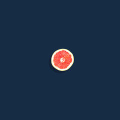 Grapefruit on Dark Navy Background
