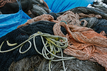 Detail of commercial fishing nets, ropes and equipment