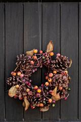 Fall themed wreath on a door