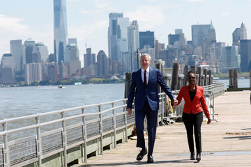New York City Mayor and Democratic Presidential candidate Bill de Blasio at Liberty Island in New York