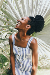 Portrait of laughing African American woman