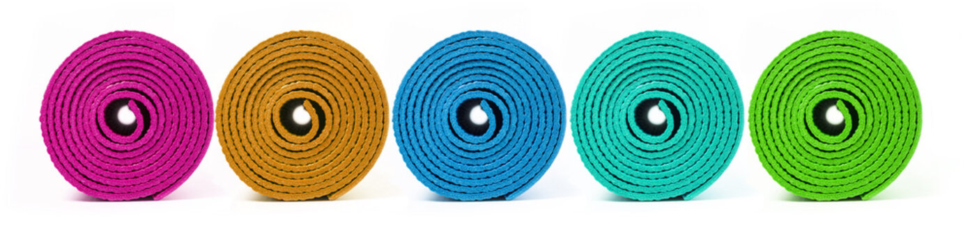 Rolled up yoga mat