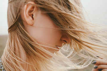 Close up of blond woman