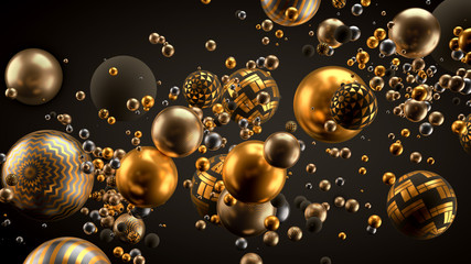 Beautiful background with balls. 3d illustration, 3d rendering. Wall mural